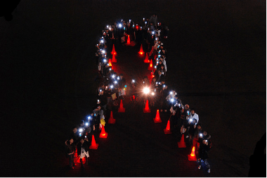 Light Up! Stand Up for AIDS!イベント         の様子